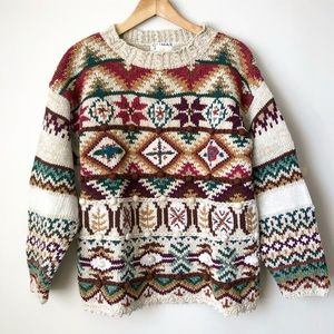 Vintage | Geometric Cable Knit Oversized  Sweater